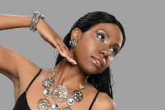 Young Black Woman wearing jewerly Royalty Free Stock Images
