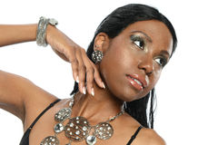 Young Black Woman wearing jewerly Royalty Free Stock Photography
