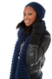 Young black woman wearing winter dress Royalty Free Stock Images