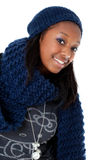Young black woman wearing winter dress Royalty Free Stock Photo