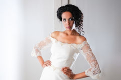 Young black woman with wedding dress Stock Photography