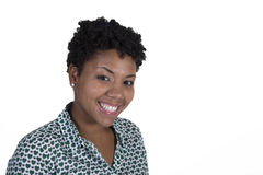 Young black woman on white Stock Photo