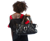 Free Young Black Woman With Handbag Over Her Shoulder Royalty Free Stock Photography - 26471597