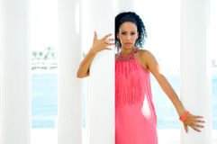 Free Young Black Woman With Pink Dress Royalty Free Stock Image - 27018546