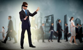 Young blindfolded man Royalty Free Stock Photo