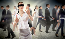 Young blindfolded woman Royalty Free Stock Images