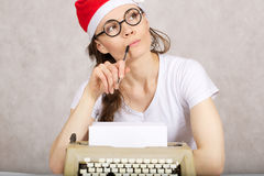 Young blogger with typing machine Royalty Free Stock Photo