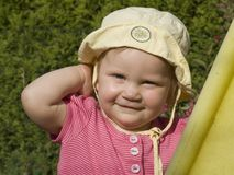 Young blond baby. Young, smart looking blond baby girl Royalty Free Stock Photo