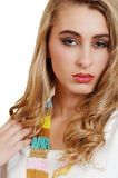 Young blond with bead necklace Stock Photos