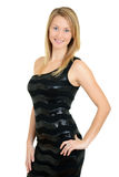 Young blond in black dress Royalty Free Stock Photo