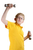 Young blond boy. In yellow shirt on a white background. Recreative stock image