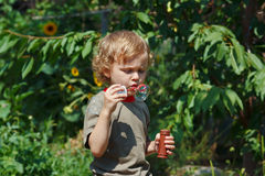 Young blond boy blowing a bubbles on a sunny day Stock Image