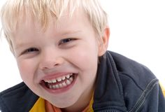 Young Blond Boy Headshot Stock Photography