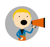 Young blond boy with megaphone round avatar icon Stock Photo