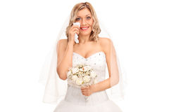 Young blond bride crying out of joy royalty free stock image