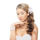 A young blond bride posing in beautiful makeup Royalty Free Stock Image