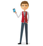 Young blond business man talking the phone vector flat cartoon illustration. Young blond business man talking the phone vector flat cartoon illustration eps 10 Royalty Free Stock Photos