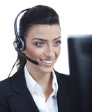 Young blond business woman with headset closeup Stock Photography
