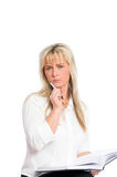 Young blond businesswoman is Royalty Free Stock Photos