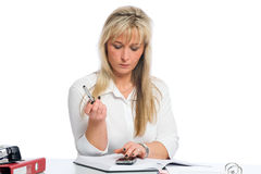 Young blond businesswoman is Royalty Free Stock Photography