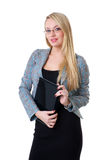 A young blond businesswoman in formal clothes Royalty Free Stock Photos