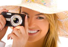 Young blond with camera Royalty Free Stock Image