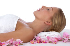 Young, blond caucasian woman at the spa Royalty Free Stock Images
