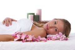 Young, blond caucasian woman at the spa Stock Image