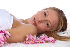 Young, blond caucasian woman at the spa Royalty Free Stock Image
