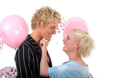Young blond couple in love. And having fun Stock Photo