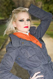 Young blond fashion model outdoors. royalty free stock photos
