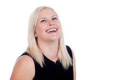 Young blond female close up. Smiling into the camera Stock Photography