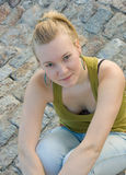 Young blond girl. Smiling outside Royalty Free Stock Images