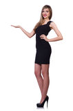 Young blond girl in black dress holding isolated Stock Photography