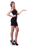 Young blond girl in black dress holding isolated Royalty Free Stock Photos