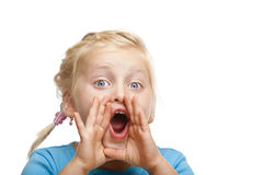 Young blond girl screams loud. Isolated on white background Stock Photography