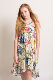 Young Blond Girl In Summer Dress Royalty Free Stock Images