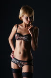 A young blond girl in vivid erotic lingerie Royalty Free Stock Photos