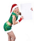 Young blond girl wearing santa claus clothes Stock Photography