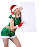 Young blond girl wearing santa claus clothes Royalty Free Stock Photos