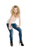 Young blond girl in a white t-shirt Royalty Free Stock Images