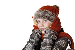 Young blond girl with winter cap and jacket Stock Photo