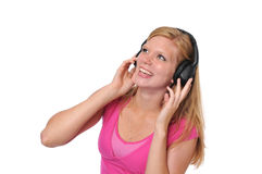 Young blond with headphones Royalty Free Stock Photos