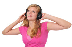Young blond with headphones Stock Images