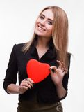 Young blond with a heart Royalty Free Stock Photo