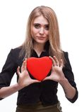 Young blond with a heart Stock Images