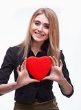 Young blond with a heart Royalty Free Stock Images
