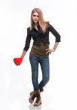 Young blond with a heart Stock Photo