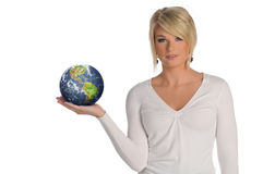 Young blond holding the earth in her hands Stock Photos
