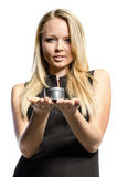 Young blond  holds metal box Royalty Free Stock Photo